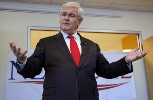 Republican presidential candidate and former Speaker of the U.S. House of Representatives Newt Gingrich speaks during a campaign stop at Insight Technology in Londonderry